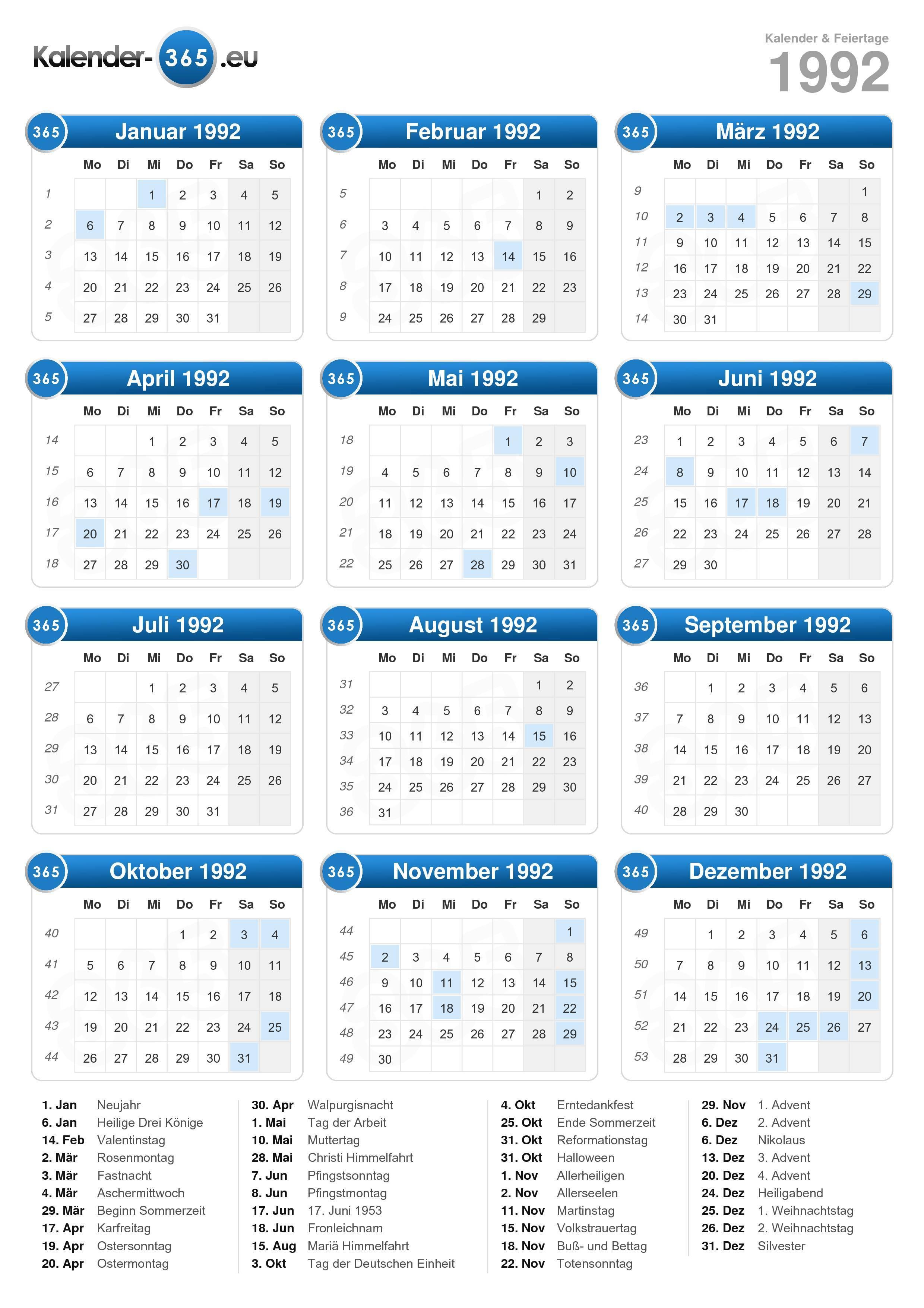 Kalender 1992