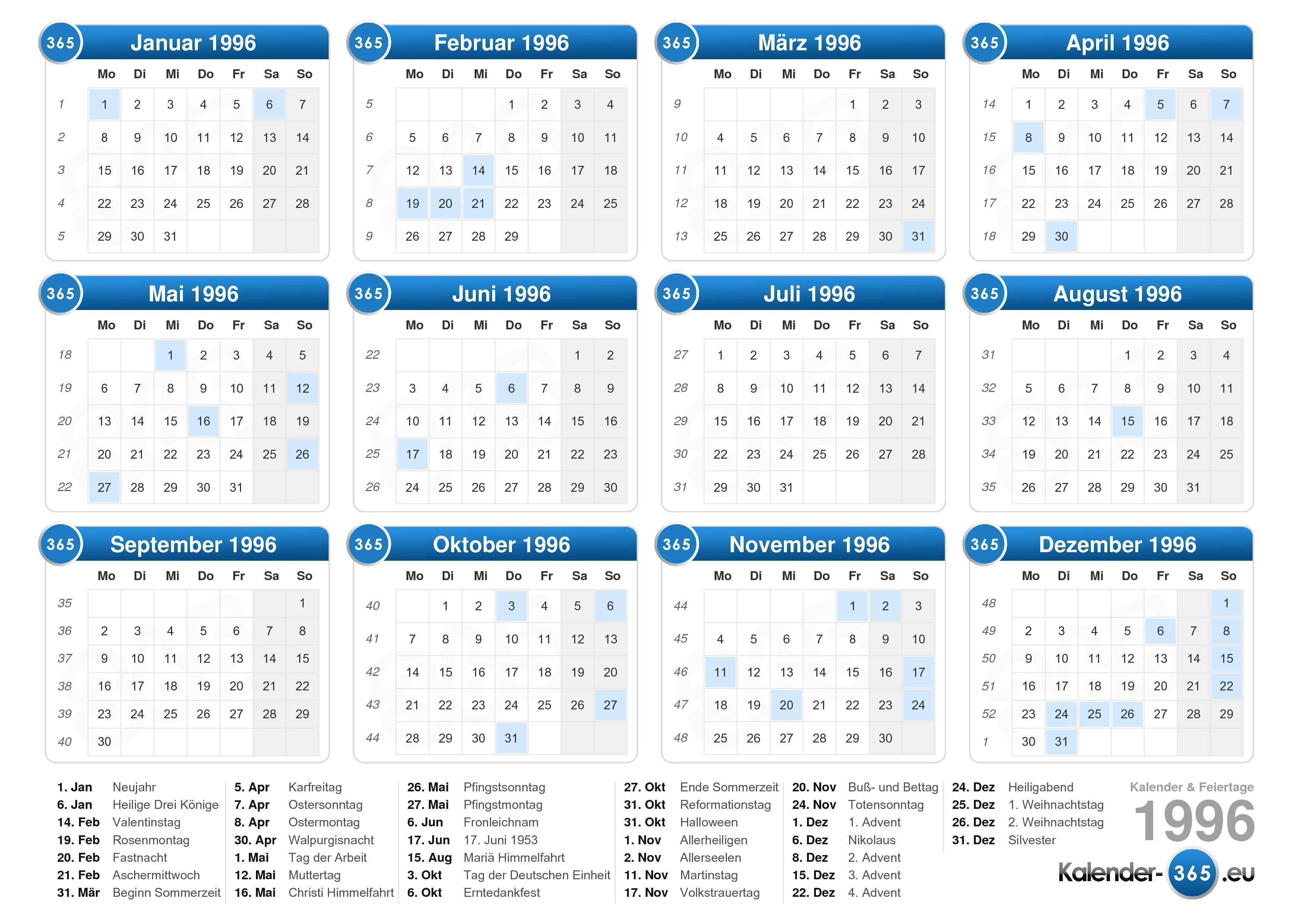 Laden Sie die Kalender 1996 mit feiertagen . (Querformat - 1 Seite)