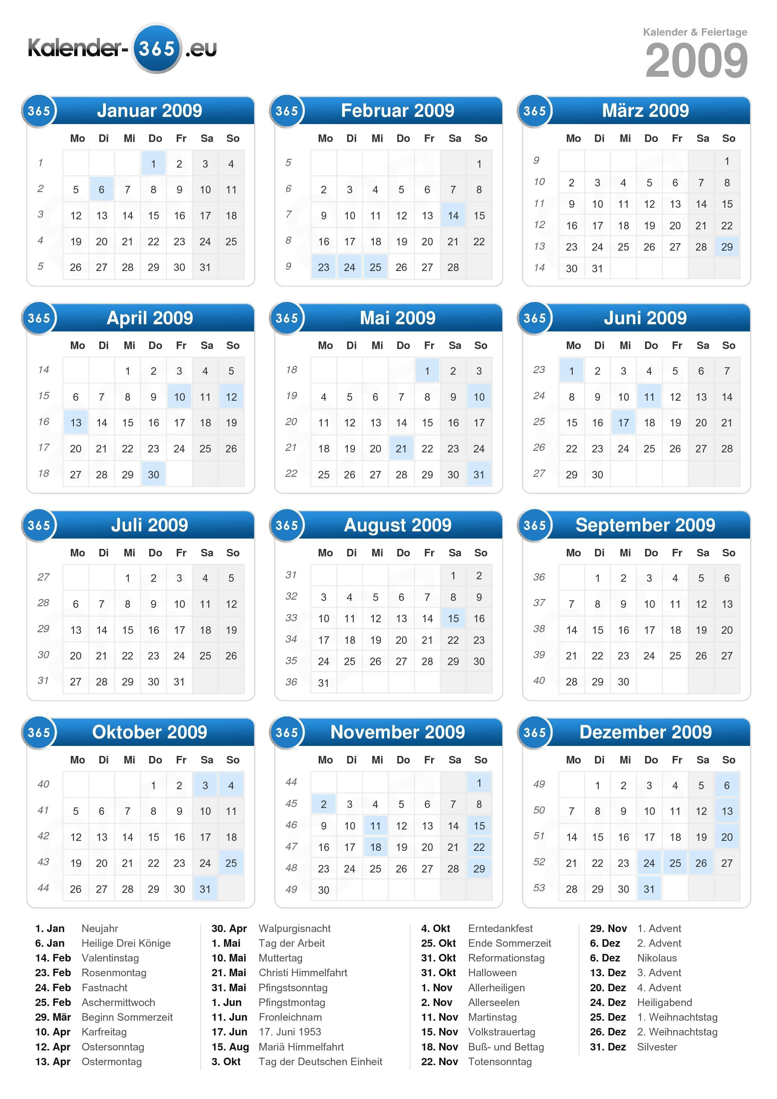 Jahreskalender selbst ausdrucken  mit Feiertagen für 2018