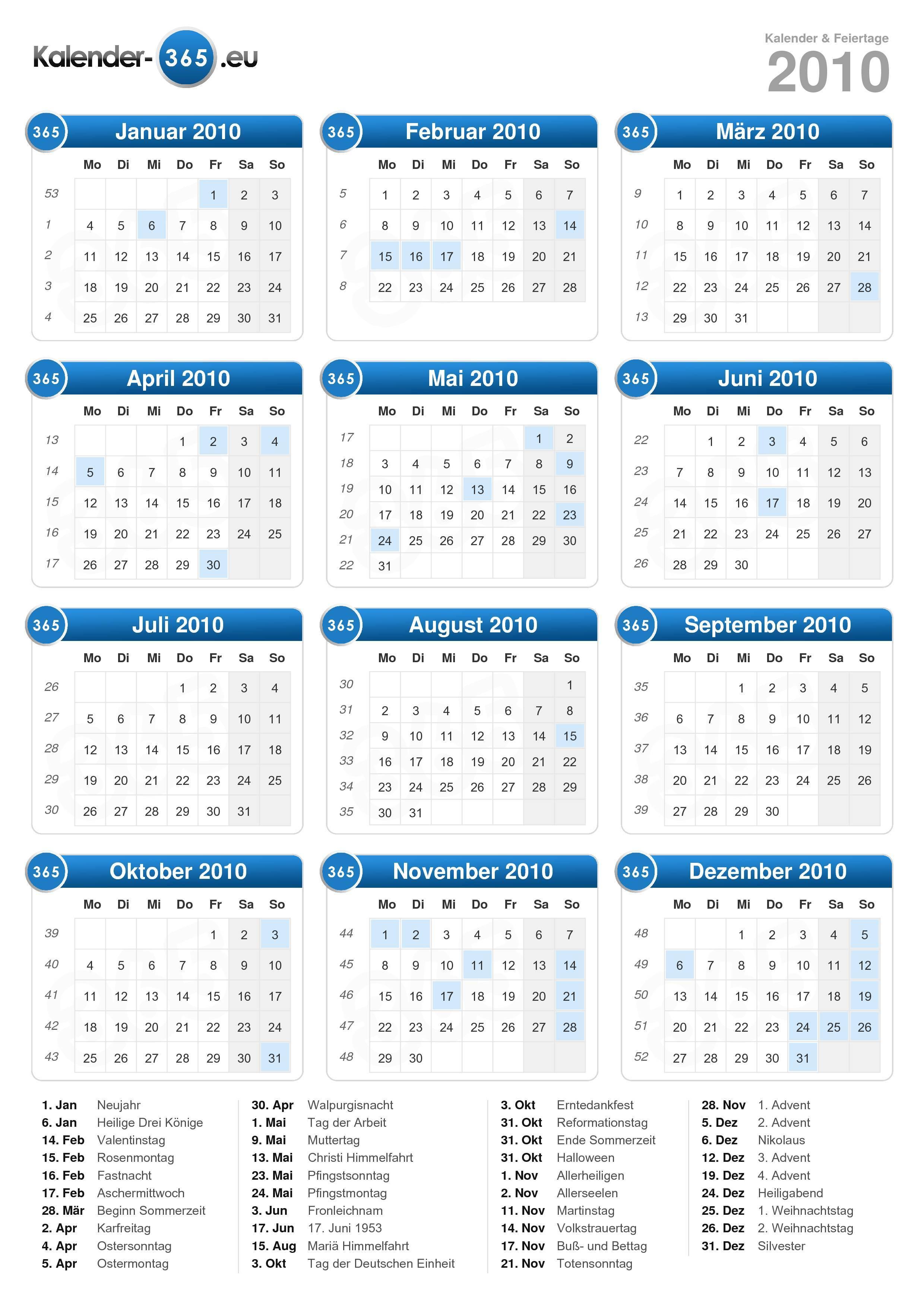 Kalender 2010 Bayern