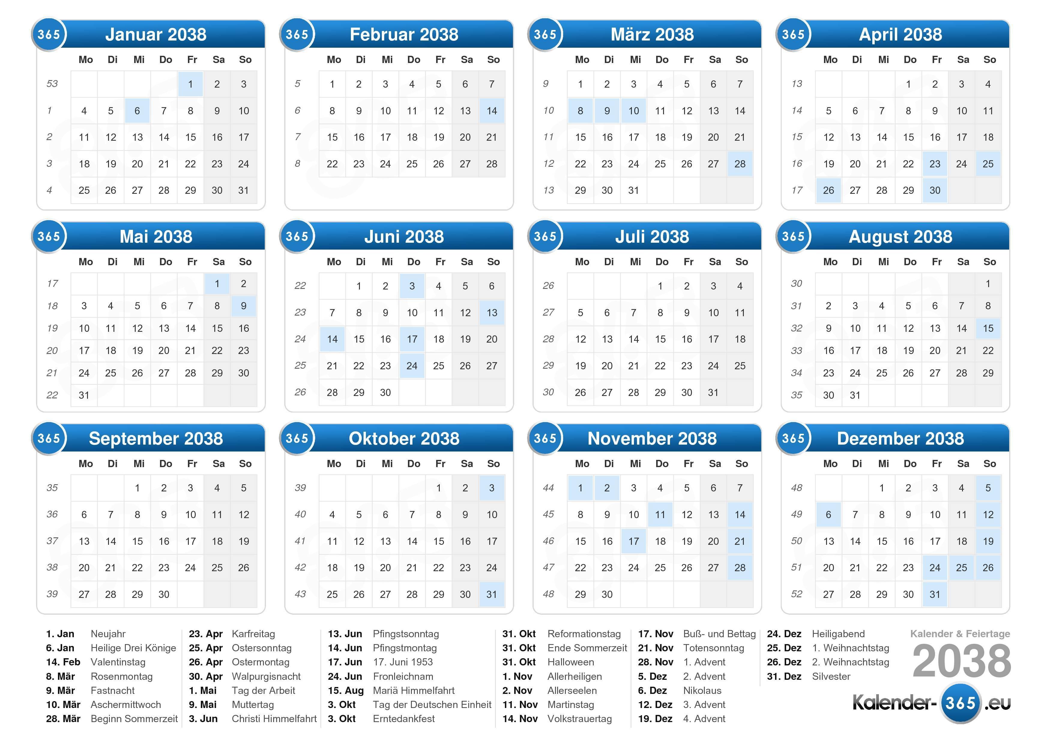 Kalender 2038