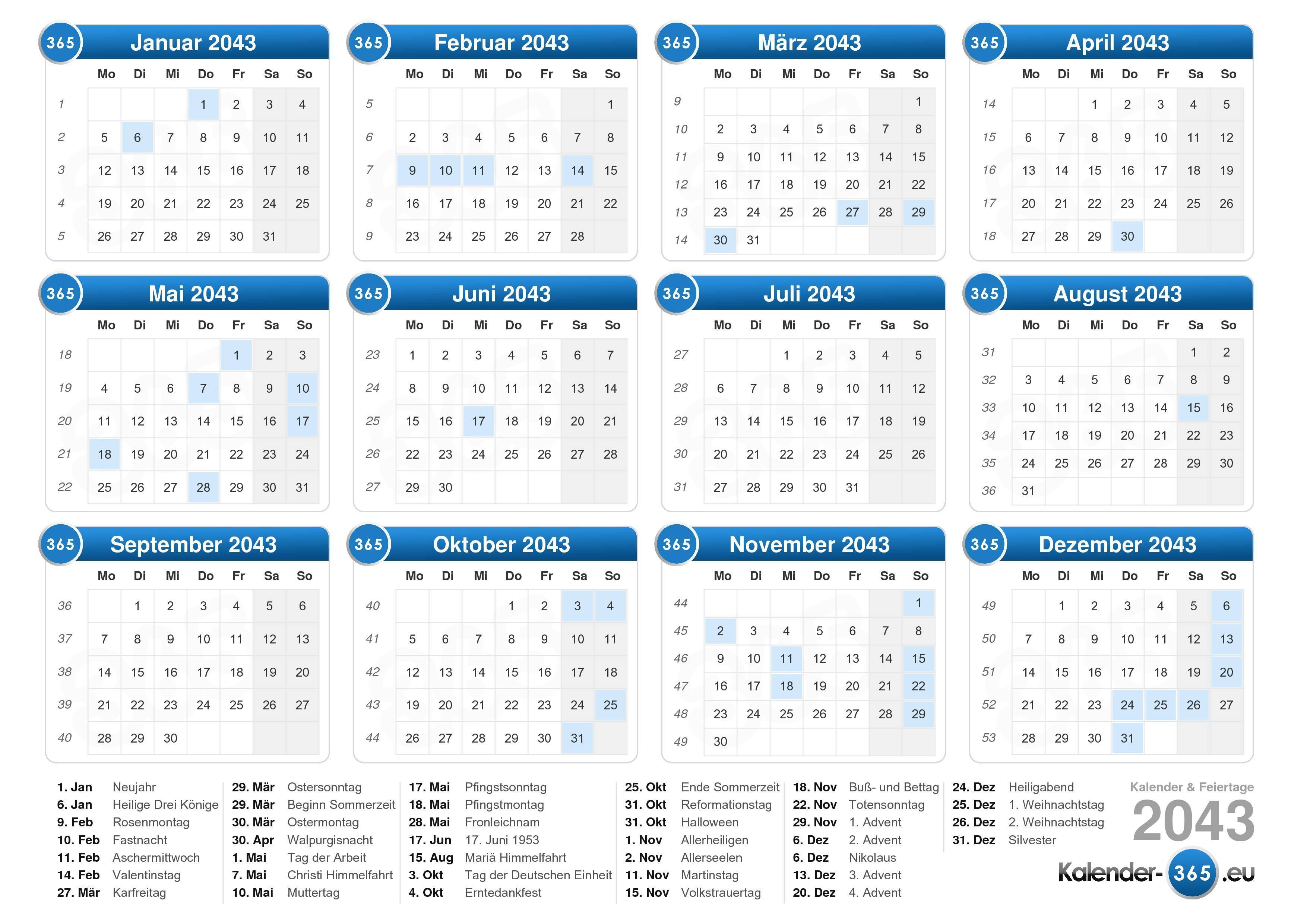Kalender 2043