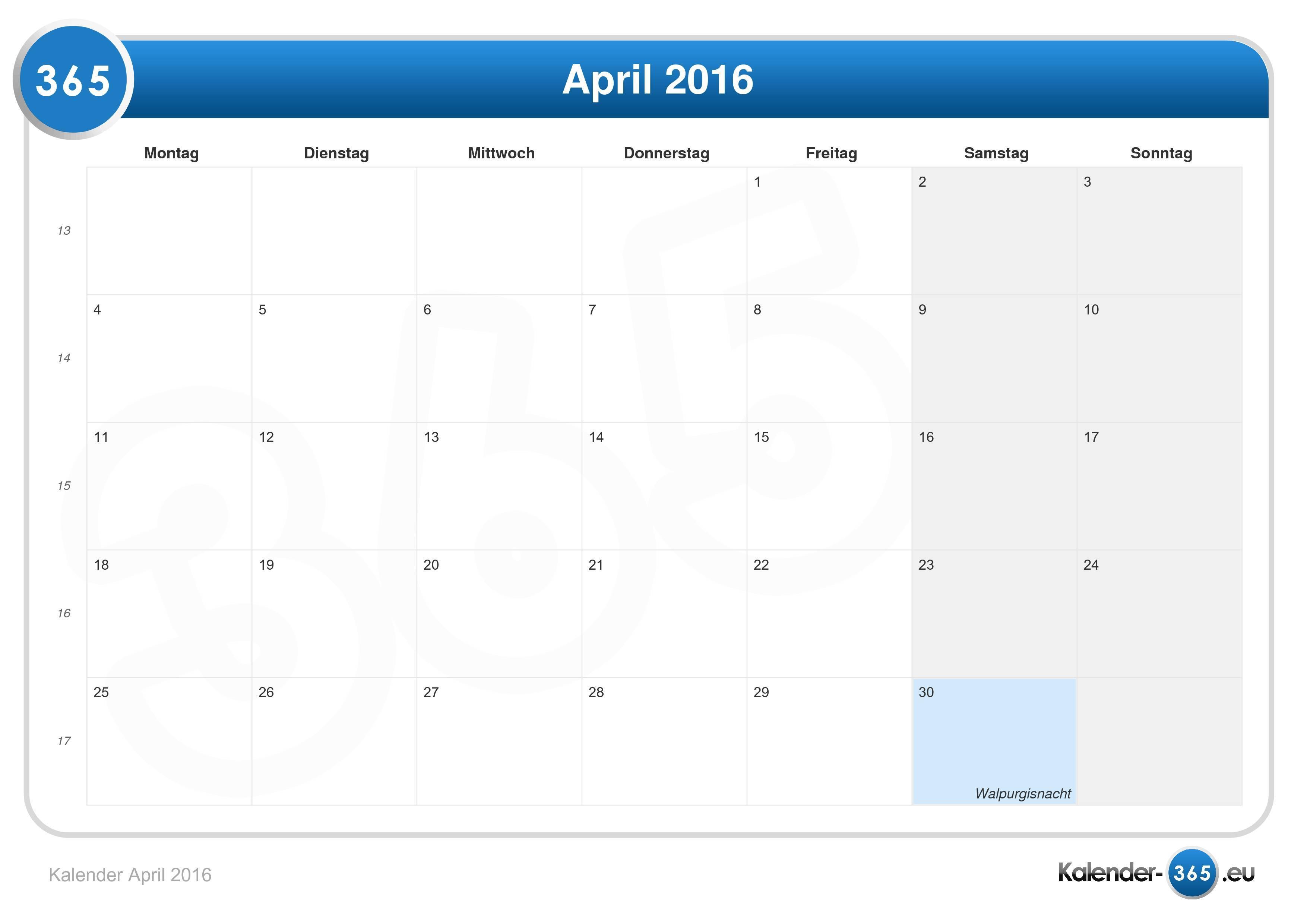 Kalender April 2016