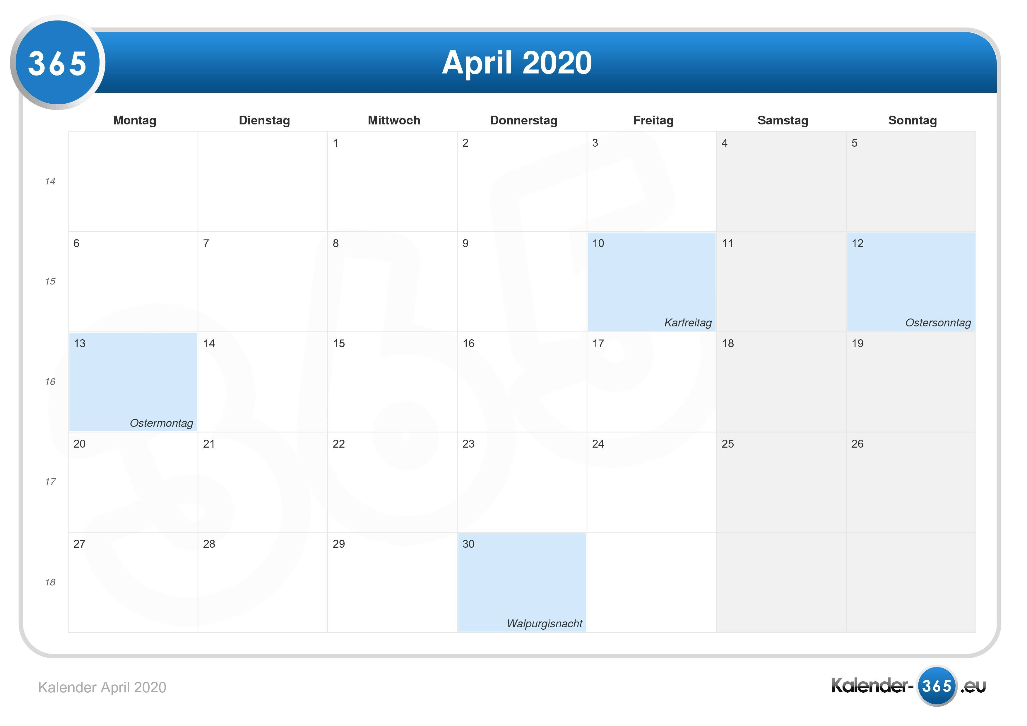 Feiertage April 2020 HeГџen
