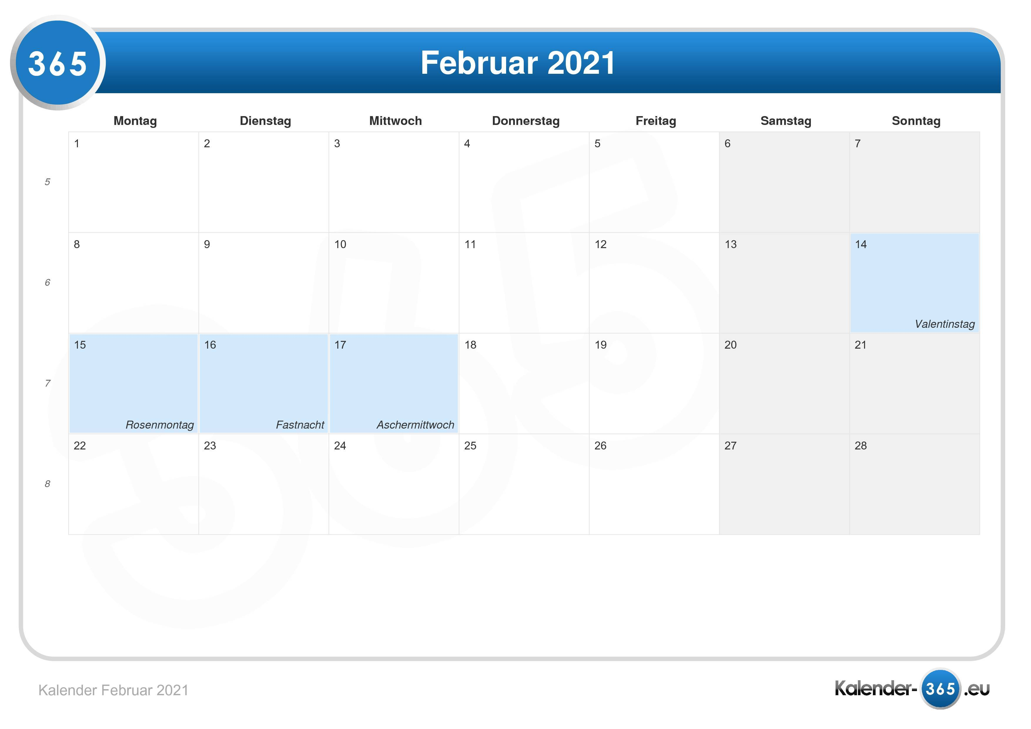 Kalender 2021 Aschermittwoch