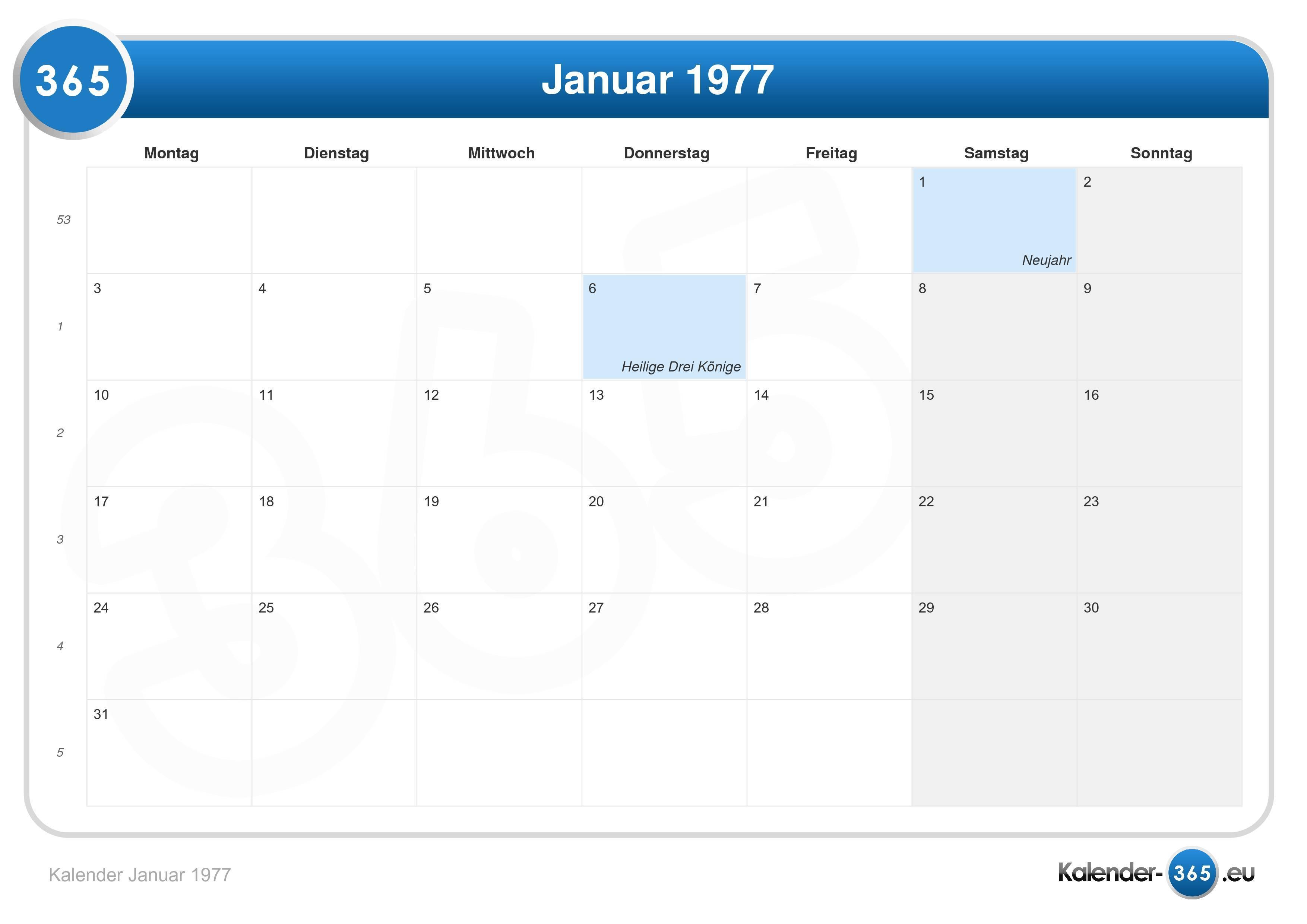 Kalender januar 1977