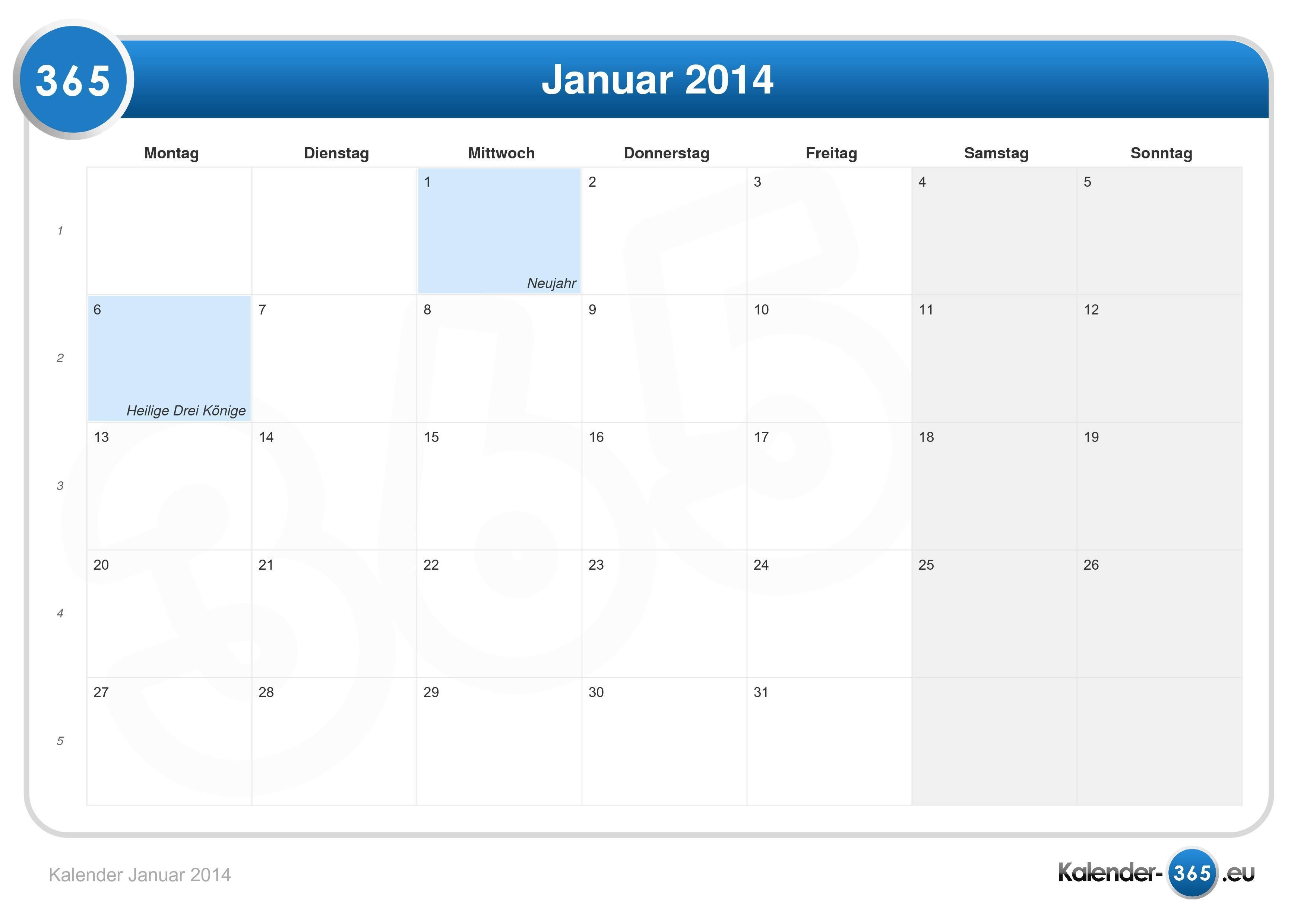 Kalender Januar 2014