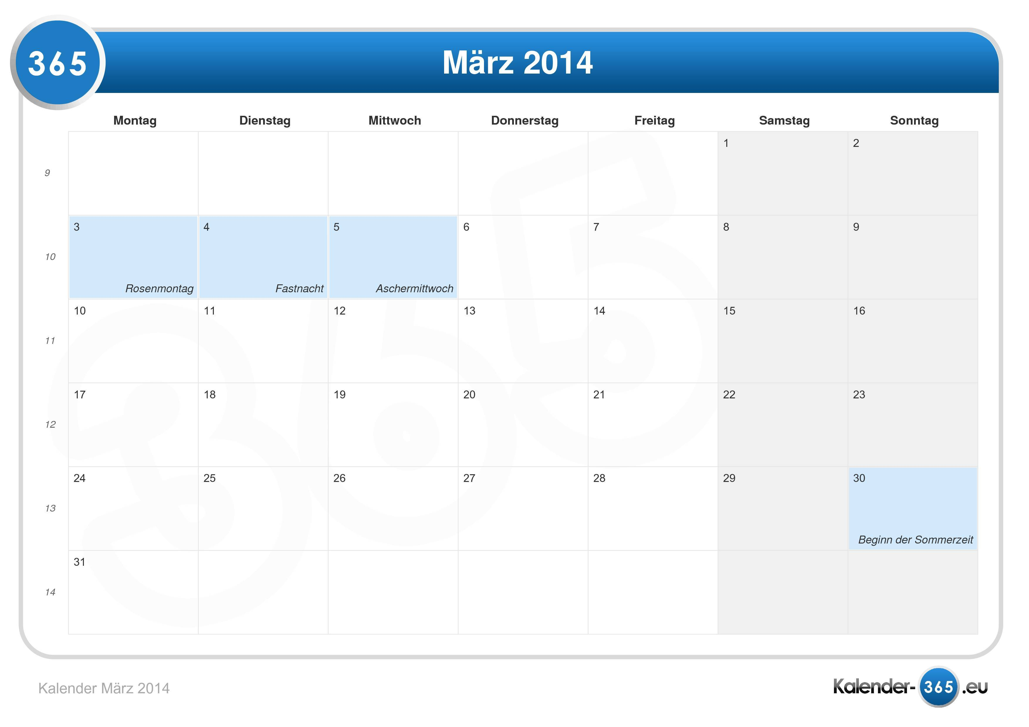 Kalender März 2014