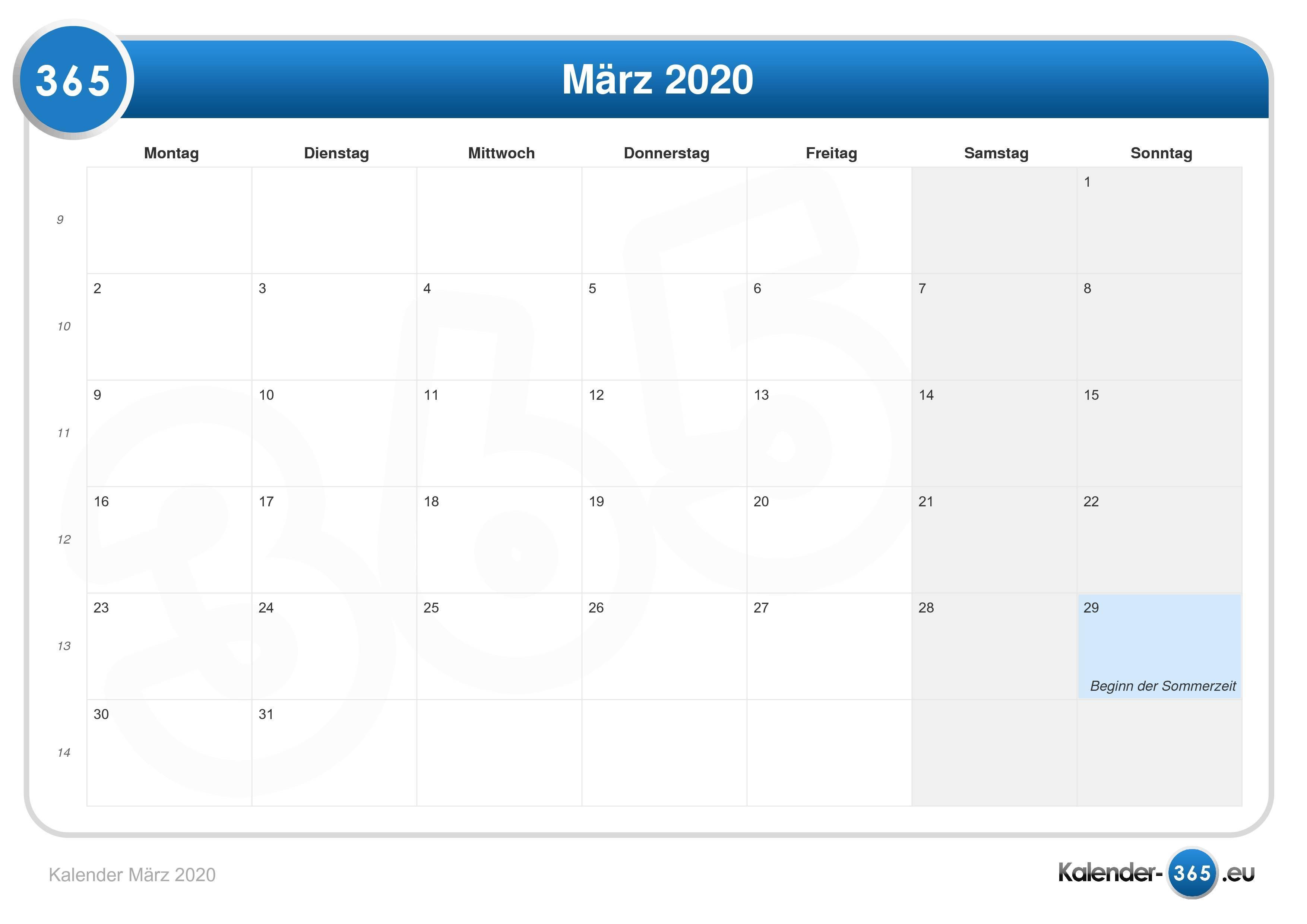 Übersicht kalender 2020