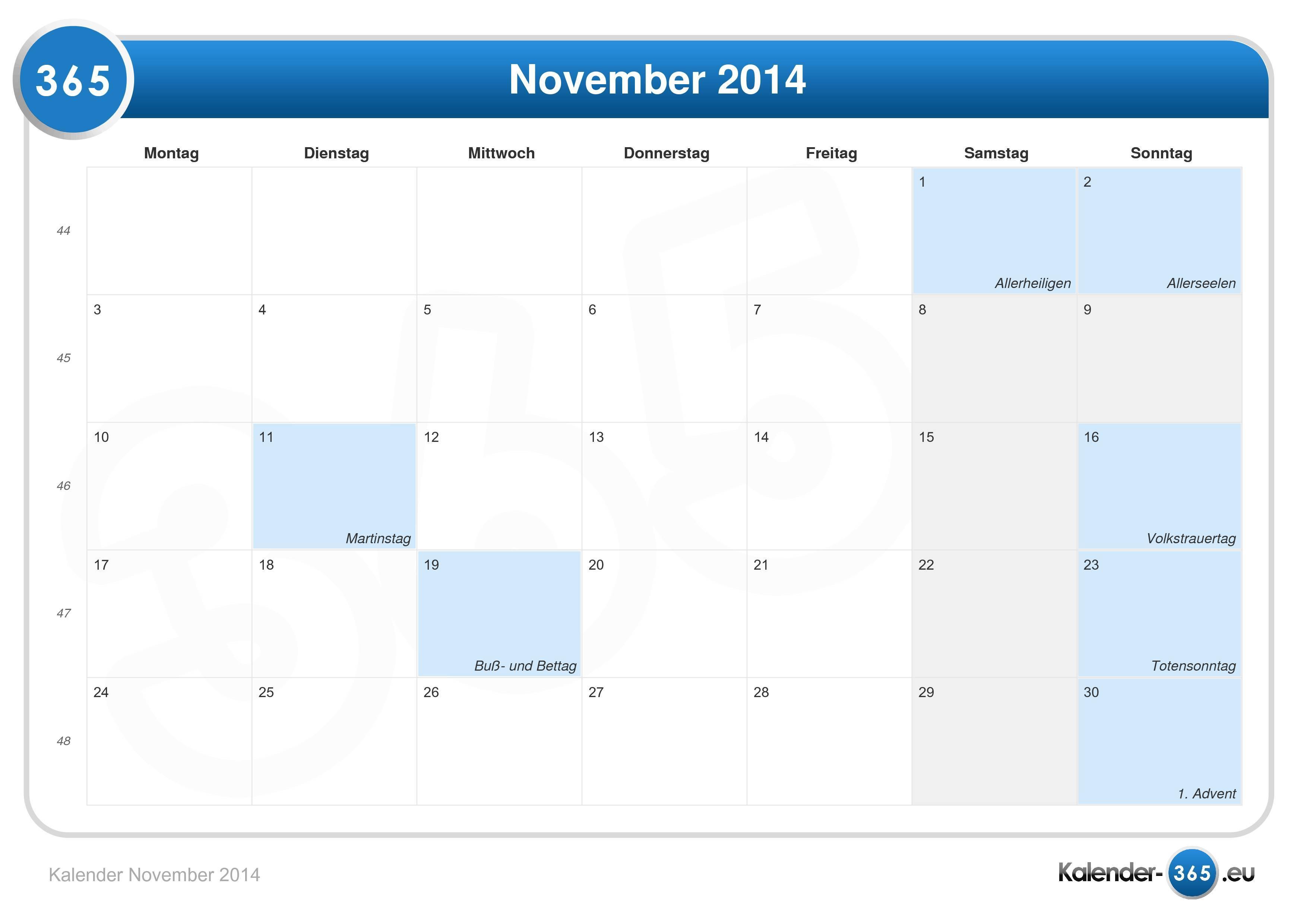 Kalender November 2014