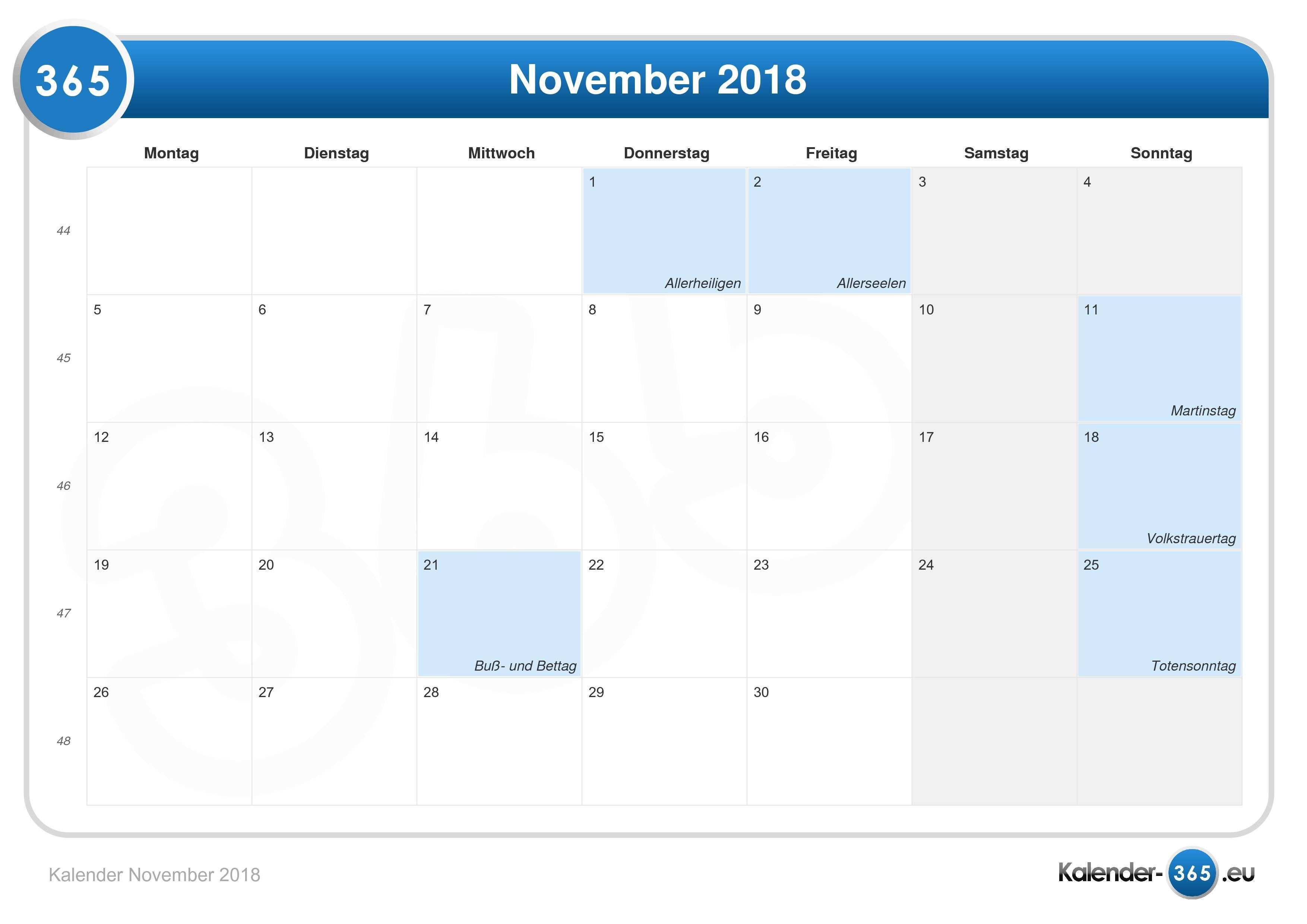 Kalender November 2018