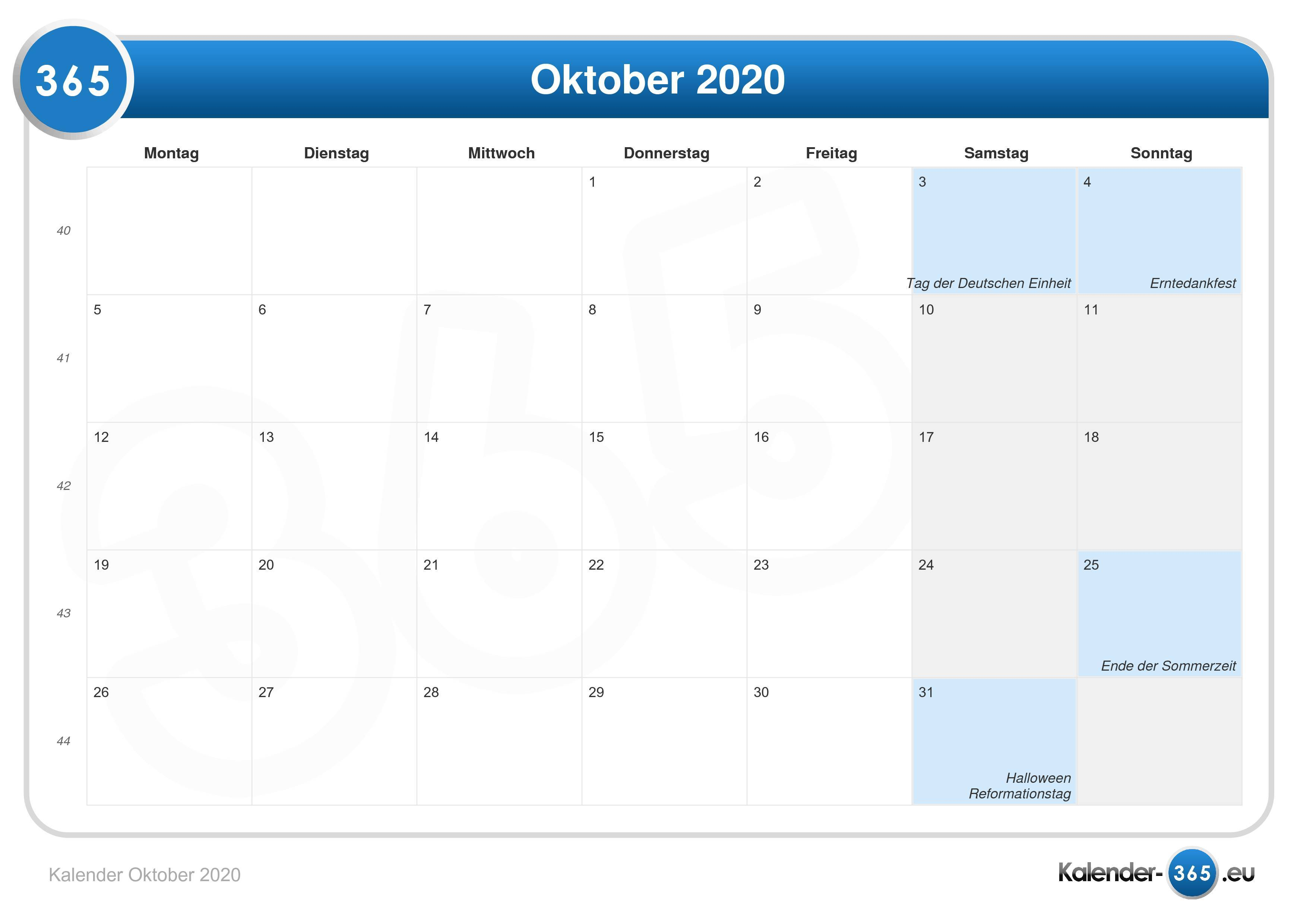Kalender Oktober 20